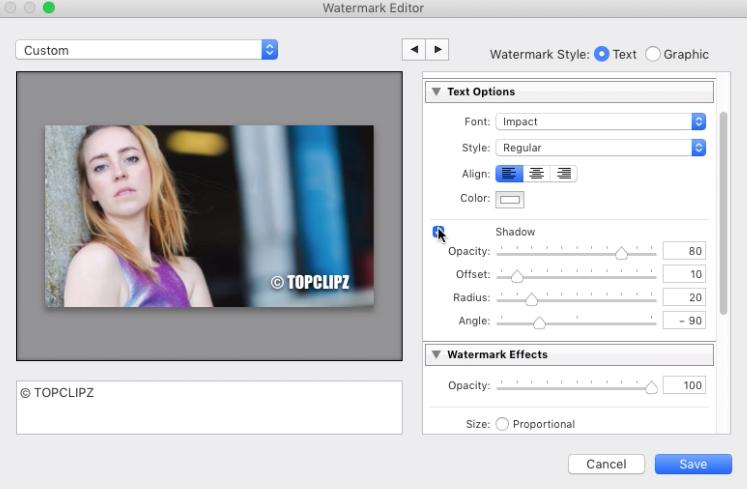 Edit Watermark in Adobe Lightroom