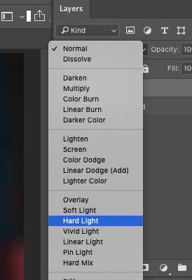 Applying Hard light on a layer in Photoshop